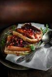 Open Suasage Sandwich Stock Photo