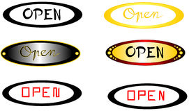 `Open` subtitles with elliptical background Royalty Free Stock Photos