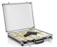 Open suitcase with dollars and gun on white Royalty Free Stock Photo