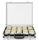 Open suitcase with dollars isolated on white. Stock Photos