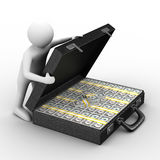 Open suitcase with dollars on white background. Isolated 3D image Stock Photography