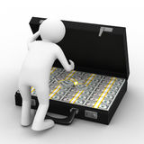 Open suitcase with dollars on white background Stock Image