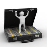 Open suitcase with dollars on white background. Isolated 3D image Royalty Free Stock Photography
