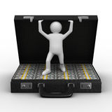 Open suitcase with dollars on white background. Isolated 3D image Royalty Free Stock Images