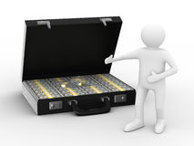 Open suitcase with dollars on white background. Isolated 3D image Royalty Free Stock Photos