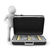 Open suitcase with dollars on white background Stock Photo