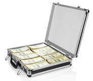 Open suitcase with dollars on white background Royalty Free Stock Photo
