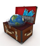 Open suitcase with Earth Royalty Free Stock Photos