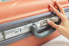 Open suitcase with security code Royalty Free Stock Photos