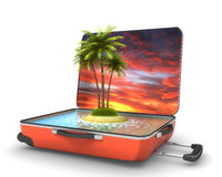 Open suitcase with tropical island at evening Stock Image