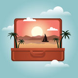 Open suitcase with a tropical island inside. Traveling and tourism. Vector illustation. Vector illustration. Concept picture of travaling and tourism Stock Photos