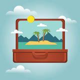 Open suitcase with a tropical island inside. Traveling and tourism. Vector illustation. Vector illustration. Concept picture of travaling and tourism Royalty Free Stock Image