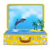 Open suitcase with a tropical island and a dolphin jumping out of the water. vector illustration
