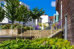 Open summer terrace with table and colorful chairs in Stavanger Stock Images