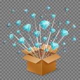 Open surprise box light beam explosion and flying diamond gems royalty free illustration