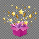 Open surprise box light beam explosion and flying stars royalty free illustration