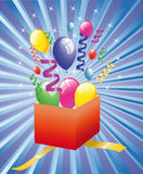 Open surprise gift with balloons. Surprise gift with colored balloons vector illustration
