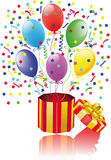 Open surprise gift with balloons vector illustration