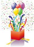 Open surprise gift with balloons stock illustration