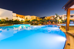 Open swimming pools in Mikri Poli hotel resort in Kolymbia Stock Photography
