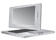 Open tablet PC showing keyboard and screen Stock Photos
