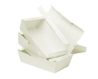 Open Takeaway Boxes. Stack of Takeaway Boxes on White Background Stock Images