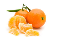 Open tangerine. On white background Stock Photography