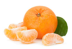 Open tangerine fruit on white Royalty Free Stock Photos