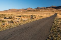 Tar road in the dry grasslands. Open tar road in the dry grasslands in Africa Royalty Free Stock Images