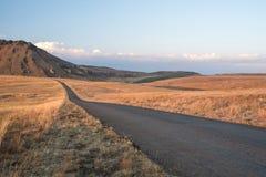 Open tar road headed into the horizon. In dry grasslands Stock Photos