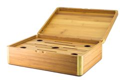 Open tea box. Made of bamboo Stock Images