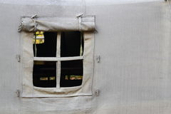 Open tent window. Closeup on military tent window,opened Stock Photography