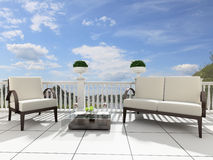 Open terrace. Armchairs and a table on an open terrace Royalty Free Stock Photos
