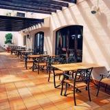 Open terrace cafe in mediterranean town Stock Photo
