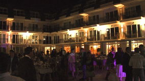 On the open terrace of the restaurant in the hotel complex in Kranevo, Bulgaria stock video