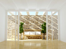 Open terrace with wooden furniture. Stock Photos