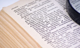Open text. In vintage book Royalty Free Stock Photo