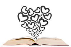 Open text book with heart shape icon pen drawing icon Royalty Free Stock Image