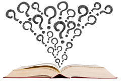 Open text book with question mark pen drawing icon royalty free stock photos