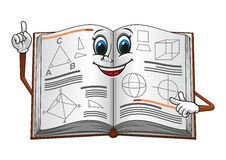 Open textbook with geometric shapes cartoon Stock Photography