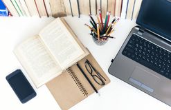 Free Open Textbook, Notebook, Smartphone, Laptop Computer, Stack Of Books Education Back To School Background, Glasses And Pencils In Stock Photo - 158550490