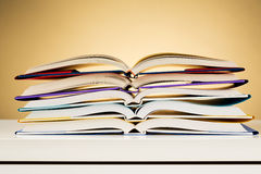Open Textbooks on a Desk Stock Images