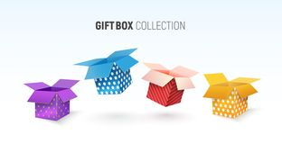Free Open Textured Gift Box Collection. Isolated Vector Colorful Giftboxes On White Background Royalty Free Stock Photography - 166525977