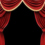 Open theater drapes or stage curtains. With a black background Royalty Free Stock Image