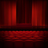 Open theater red curtains. EPS 10. Open theater red curtains with light and seats. EPS 10 vector file included Royalty Free Stock Photos