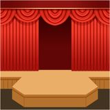 Open theater scene with red curtain and fashion podium.. Wooden show stage with scarlet velvet drapery and pelmets. Colorful background for event or mannequin Stock Image