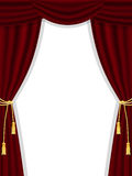 Open theatre curtains on white Stock Images