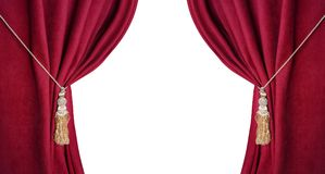 Open theatrical red blind isolated on white background Stock Images