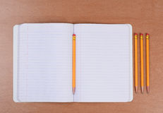 Open Theme Book with Pencils Royalty Free Stock Photos