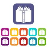 Open thick book icons set. Vector illustration in flat style in colors red, blue, green, and other Stock Photo